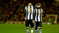 Newcastle United's Dwight Gayle celebrates his 2nd goal with Jonjo Shelvey