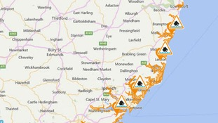 Flood Alerts issued along the Suffolk and Essex coast.