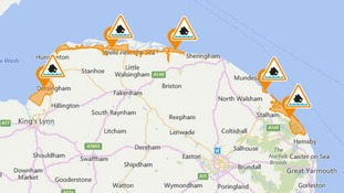 There are five flood alerts in force along the Norfolk coast.