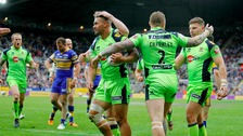 Wigan Warriors players celebrate during the Dacia Magic Weekend match at St James' Park 2016