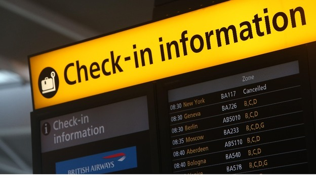 Airlines at at Heathrow Airport have had to cancel flights to the USA