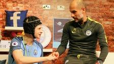 Elliott Fernadez-Sanz meets Manchester City Manager Pep Guardiola