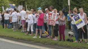 Teaching assistants protesting.