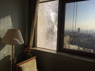 Jonathan Wald's hotel window in Aleppo was shattered