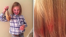 Girl's hair dyed red by Asda scrunchie