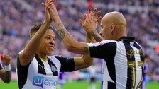 Newcastle United's Dwight Gayle celebrates scoring his side's second goal with Jonjo Shelvey