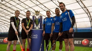 Leicester City stars take on Olympic hockey champion