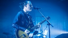 Thom Yorke of Radiohead performs with the band.