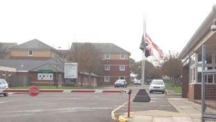 Flags at half mast at Folkestone barracks