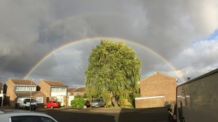 Rainbow over Saffron Walden on Thursday