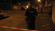 Police at the scene on Thursday evening.
