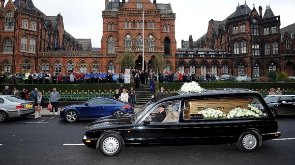 Jimmy Savile&#x27;s funeral procession.