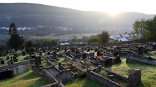 The graves of the victims of the Aberfan disaster in the village's cemetery in Wales, on the 50th anniversary of the tragedy