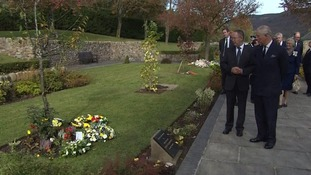 Prince Charles was shown the memorial garden that stands on the site of Pantglas Junior School.