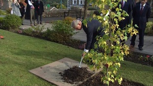The royal added mud to the base of new tree commemorating the 50th anniversary of the disaster.