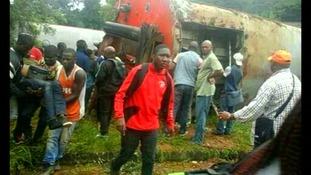 Passengers after the crash