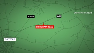 The woman in her 80s died on the A11 in Norfolk