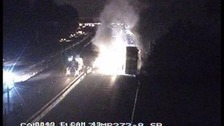 A truck carrying 26 tonnes of paper does up in flames on the M6 in Cheshire
