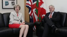 Theresa May and Carwyn Jones meeting in Cardiff
