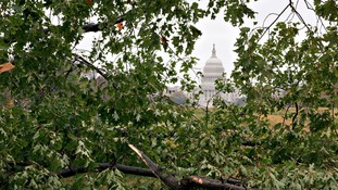 Capitol Hill can be seen through the fallen trees in Washington, where the Leicester schoolgirls were unable to catch their flight