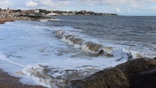 The waves rolling in at Felixstowe