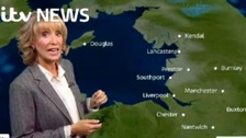 Emma Jesson in front of Granada weather graphic