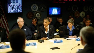 President Obama visits FEMA headquarters following Sandy.