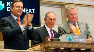 Mayor Bloomberg rings the opening bell in New York.