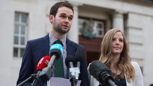 Daniel and Amy McArthur of Ashers Baking Company outside Belfast High Court