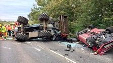 Tractor overturns and rolls onto car on A10 in Norfolk