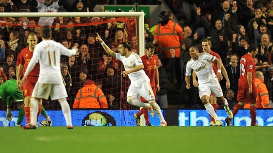 Chico celebrates scoring Swansea's opener