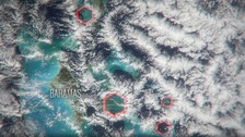 Hexagonal clouds can be seen over the Bermuda Triangle.