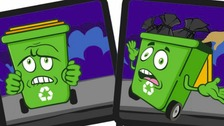 Campaign posters feature animated wheelie bins