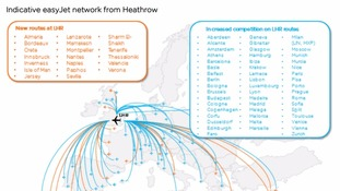 EasyJet published a list of new routes and a list of destinations which it said would experience increased competition.
