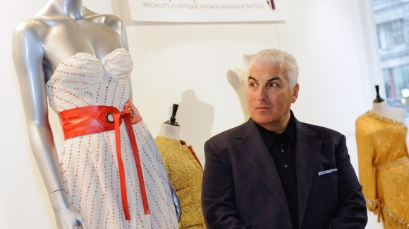 Mitch Winehouse with a dress by Disaya which Amy Winehouse wore on the cover of her Back to Black album cover.