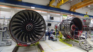 The Trent turbine's bigger design moves the air slower and is more efficient.