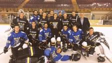 Pictured: Bieber 'chilling out' with Manchester Hockey team