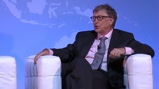 Bill Gates speaks at the Grand Challenge Annual Meeting.