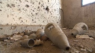 The remains of a cluster bomb that claimed the lives of three members of a mine clearance team.