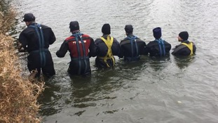 Photos of divers searching for missing Melanie