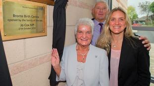 Jo Cox's mum Jean, dad Gordon and sister Kim Leadbeater unveil the new Bronte Birth Centre at Dewsbury Hospital.