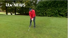 Wounded veteran plays golf non-stop to raise money for woman's cancer treatment