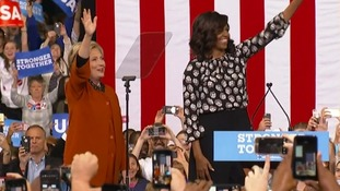 Michelle Obama and Hillary Clinton present united front  at North Carolina rally