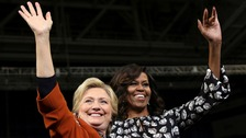 First Lady puts on united front with Hillary Clinton