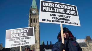 Protests against Uber in front of parliament in February.