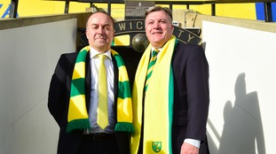 Norwich City chairman Ed Balls (right) with former chief executive David McNally.