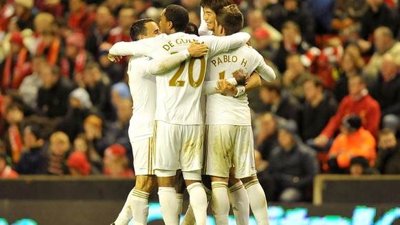 Swansea City team mates celebrating