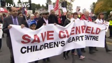 Hundreds turned out to protest over the closure of Glenfield Children's heart unit.