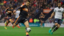 Newcastle United's Aleksander Mitrovic scores his side's first goal