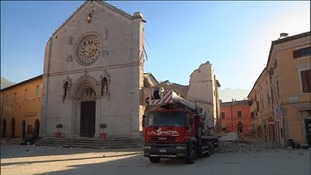 The historic Basilica of St. Benedict was badly damaged.